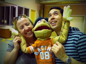 Vanessa Paech and Jez Hunghanfoo with one of our prototype puppets
