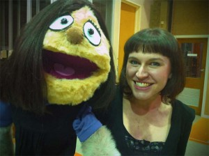Penelope Bruce with a prototype Kate Monster